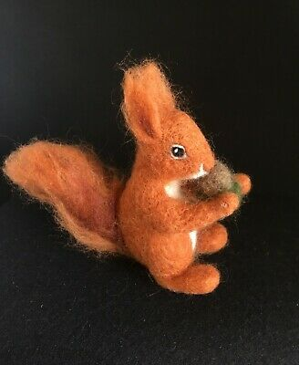 OOAK Handmade needle felted animal - small Eurasian Red Squirrel holding acorn