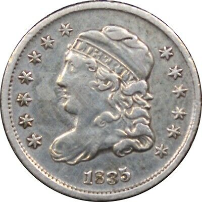 1835 Capped Bust Half Dime, Very Fine VF. Cleaned