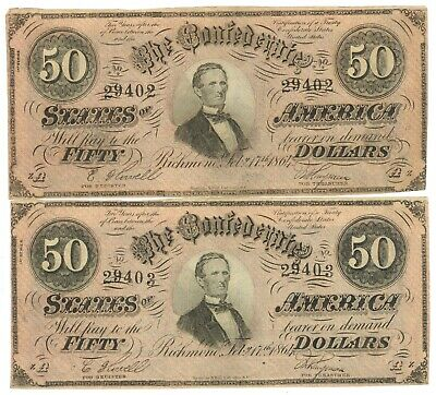 LOT OF TWO 1864 $50 CONFEDERATE STATES OF AMERICA NOTES - CONSECUTIVE #'s - UNC
