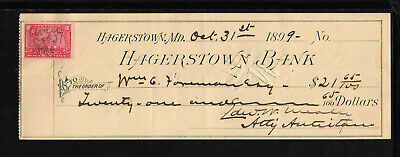 9Y1473 - 1899 Hagerstown Bank - Hagerstown, Maryland