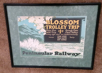 Historical Early 1900s Peninsular Railway Advertising Poster Matted and Framed