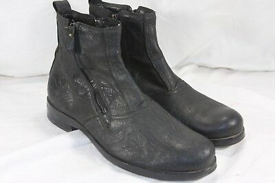 deaa0fd1c3b Area Forte Italy Black Leather Double Zip Ankle Boots Mens 41 Us 8 M Uk 7.5
