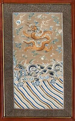 Antique Qing Dynasty Framed Silk Embroidery with Imperial Gold 5-Clawed Dragon