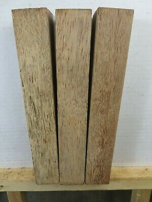 """(3) LOT OF 3,  2"""" x 12"""" RED PALM POOL CUE BLANKS, TURNING WOOD, GUN KNIFE SCALES"""