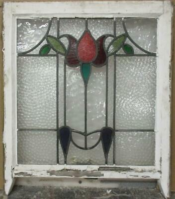 """EDWARDIAN ENGLISH LEADED STAINED GLASS SASH WINDOW Pretty Floral 20.75"""" x 21.5"""""""