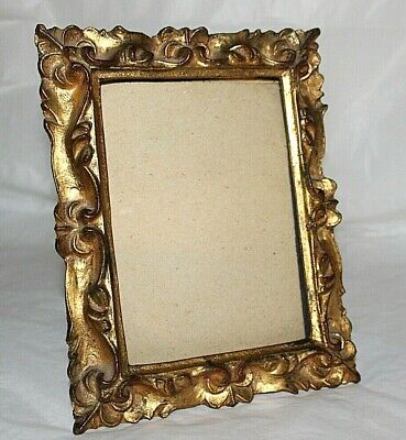 Antique Florentia Florentine Carved Wood 5x7 Picture Frame Italy Gold Gilt