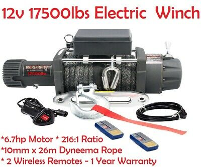 17500LBS Wireless 12V Electric Winch Synthetic Rope 4WD Recovery Winch 12Volt