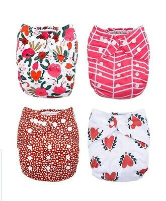 Baby Cloth Pocket Diapers 4 Pack Bamboo Inserts  Nora's Nursery ROUGE & ROSE NEW
