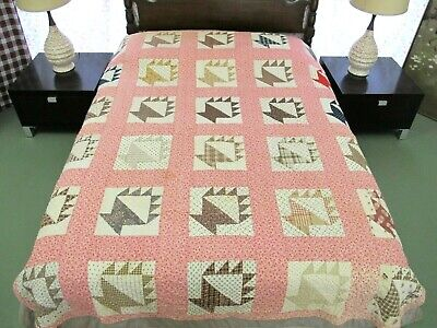 "Antique 19th Century BASKETS Quilt, Wonderful Fabrics, Some Damages, 87"" x 71"""