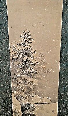 Antique Japanese / Chinese Winter Landscape Original Scroll Painting Silk Signed