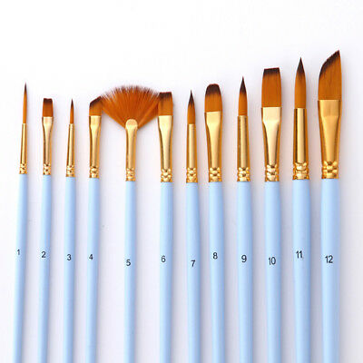 12pcs Artist Paint Brushes Set Nylon Hair Watercolor Acrylic Oil Painting Supply