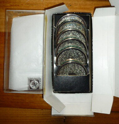 Boxed Set of 6 Vintage STRACHAN Silver Drink Coasters