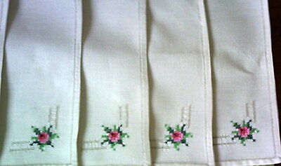 Petit Point Embroidered Dessert Napkins 4 Natural Tone 2 White Starched Gift