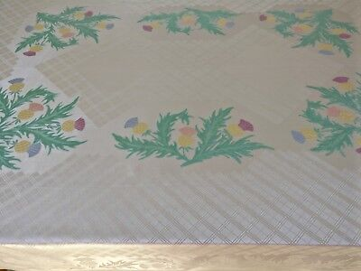 Vintage Tablecloth Irish Vibrant Thistles Emblem of Scotland Charming High Tea