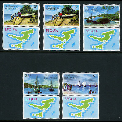 GRENADINES of ST VINCENT 1974 Bequia Island. SG 30-34. 2 x 5c. Maps MNH. (AR630)