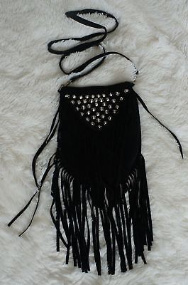 b7bec5f0995 NEW JJ Winters BOHO Fringe Black Suede Studded Riley Shoulder Crossbody Bag  UNIQ