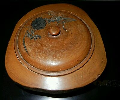 兰雅菊盛 黄杨木雕香盒Antique boxwood incense jar box Vintage orchid hand carved artwork