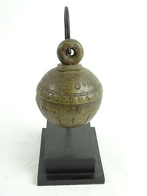 "Antique Burmese  Cast Bronze 19th Century Elephant Bell  ""Chu"" on Stand Burma"