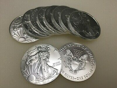 Lot of 10  2019 American Eagle Silver Coins  1oz of silver each. Ships for free.