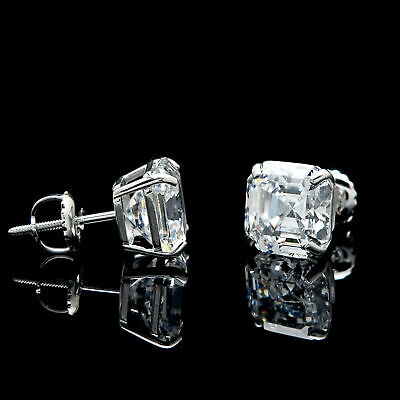 Asscher Created Diamond Stud Earrings Real 14K Gold Screw-back Studs 1.42ct-6ct