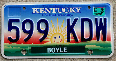 Kentucky Friendly Sunrise License Plate BOYLE with a 2006 Sticker