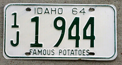 "1964 Green on White Idaho License Plate ""1J"" Famous Potatoes"