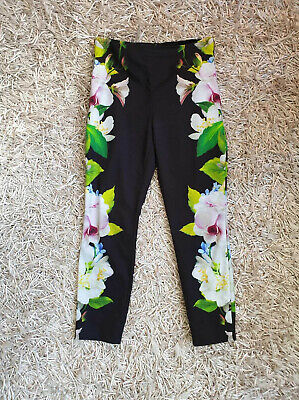 8457c70112bf Ted Baker Galla Trousers Black Floral Skinny Mirrored Forget Me Not SIZE 1  UK 8