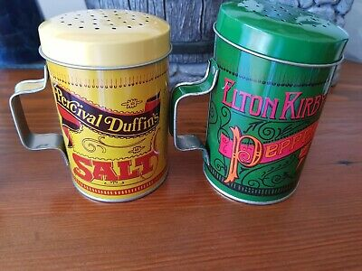 VINTAGE collectable Percival Duffin's Salt & Elton Kirby's Pepper tin handle sha