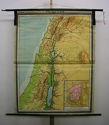 Schulwandkarte Wall Map Holy Vowed Country Palestine Israel Bible 118x151 ~ 1960