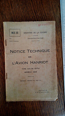 Notice Technique Avion Hanriot H-D32 E-P2 1923 Aviation Aéronautique TBE Vintage