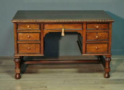 Attractive Antique Carved Walnut Twin Pedestal Writing Office Desk