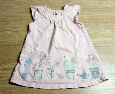GEORGE Baby GIRLS TOP T-Shirt Age 6-9 Months Pink Tunic  Flowers