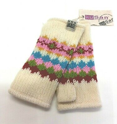 Kusan 100/% Wool Cable Knit Handwarmers Red or Oatmeal  PK927