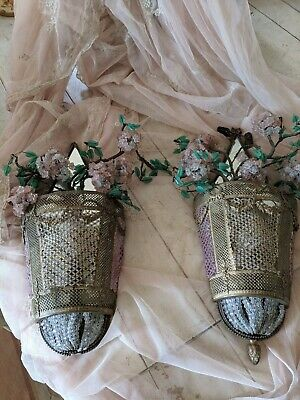 Shabby Old Pair French Beaded Crystal Basket Sconces Barbola Roses Swags Ormolu