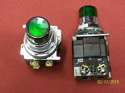 Lot Of 2 Cutler Hammer Green Pilot Light Push Button 10250T Used