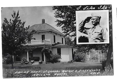 1952 Tough Eisenhower Campaign Postcard Old Home w/I Like Ike Campaign Slogan TR