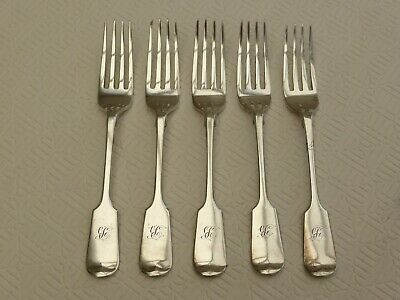 5 x ART DECO SILVER PLATED OLD ENGLISH FIDDLE DINNER FORKS    1430304/308