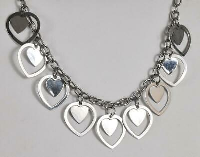 Milor Stainless Steel Heart Charm Link Necklace