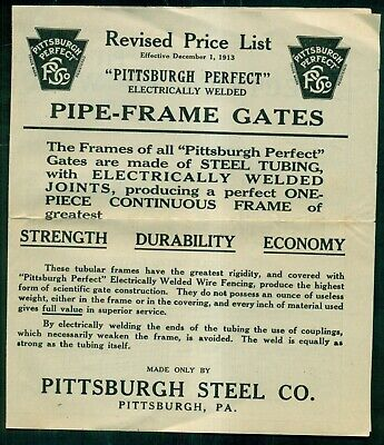 """1913 Pittsburgh Steel Co. """"Pittsburgh Perfect"""" Pipe-Frame Gates Price List"""