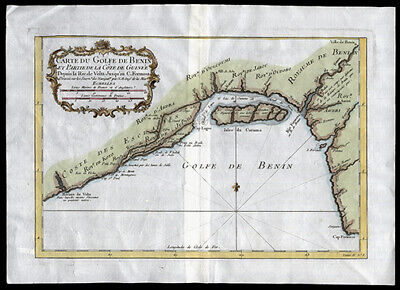 1765 Bellin Hand-Colored Map of Gulf of Benin The Slave Coast Ghana Nigeria