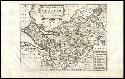 1681 John Speed Map County Palatine of Cheshire Uncolored Cartouche with Title