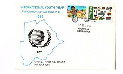 Botswana 1985 international youth year on FDC (with official insert)