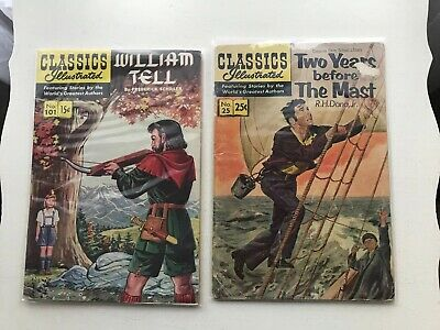 Lot F 2 Classics Illustrated:  William Tell & Two Years Before The Mast