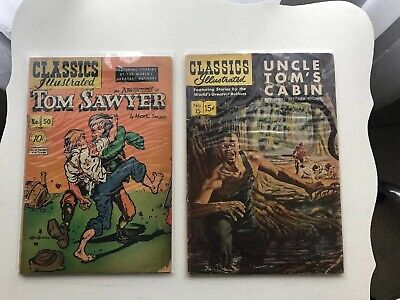 Lot Of 2 Classics Illustrated:  The Adventures Of Tom Sawyer & Uncle Tom's Cabin