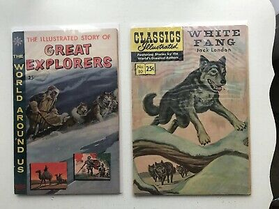 Lot Of 2 Classics Illustrated:  Great Explorers  & White Fang