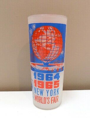 1964-1965 New York World's Fair Unisphere Frosted Drinking Glass Tumbler