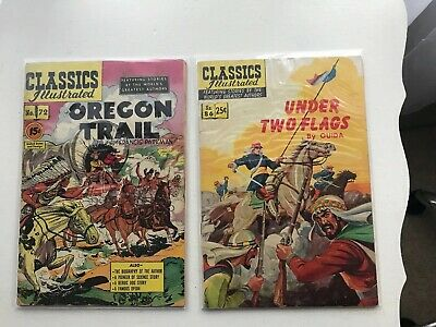 Lot Of 2 Classics Illustrated:  Oregon Trail & Under Two Flags