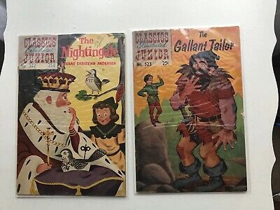 Lot Of 2 Classic Illustrated Junior:  The Nightingale & The Gallant Tailor