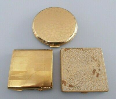 Job lot 3 vintage gold tone compacts including Stratton, Vogue Vanities