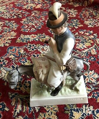 Herend Man With Pipe on Donkey figurine porcelain